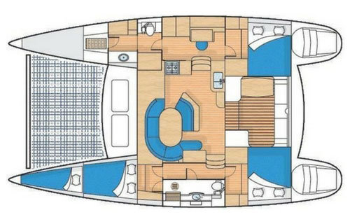 Layout of the Nauti Mermaid - a 41' catamaran